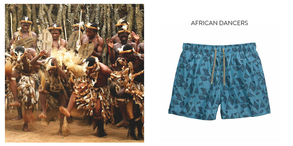 Benibeca male swimshorts African Dancers