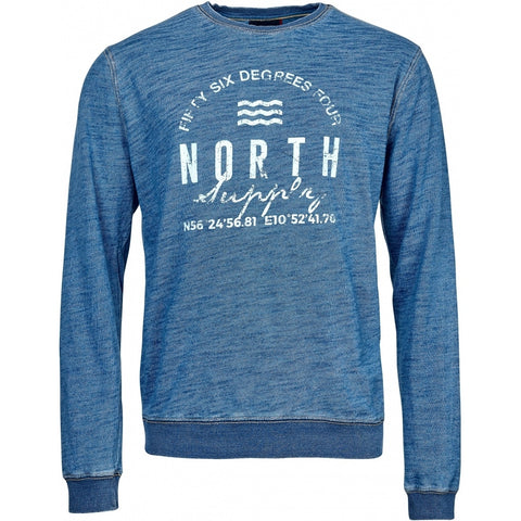 North 56°4 / Replika Jeans (Big & Tall) North 56°4 Crew neck sweat indigo Sweatshirt 0585 Indigo Blue