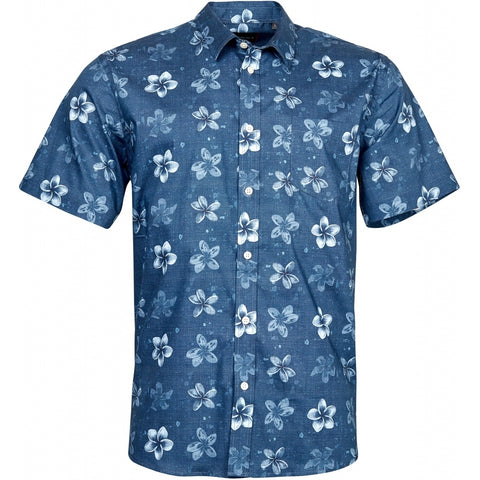 North 56°4 / Replika Jeans (Regular) North 56°4 Flower printed shirt Shirt SS 0580 Navy Blue