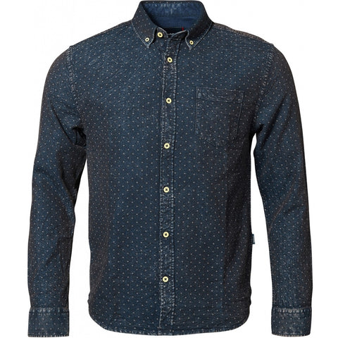North 56°4 / Replika Jeans (Regular) North 56°4 Knitted allover printed shirt L/S Shirt LS 0580 Navy Blue