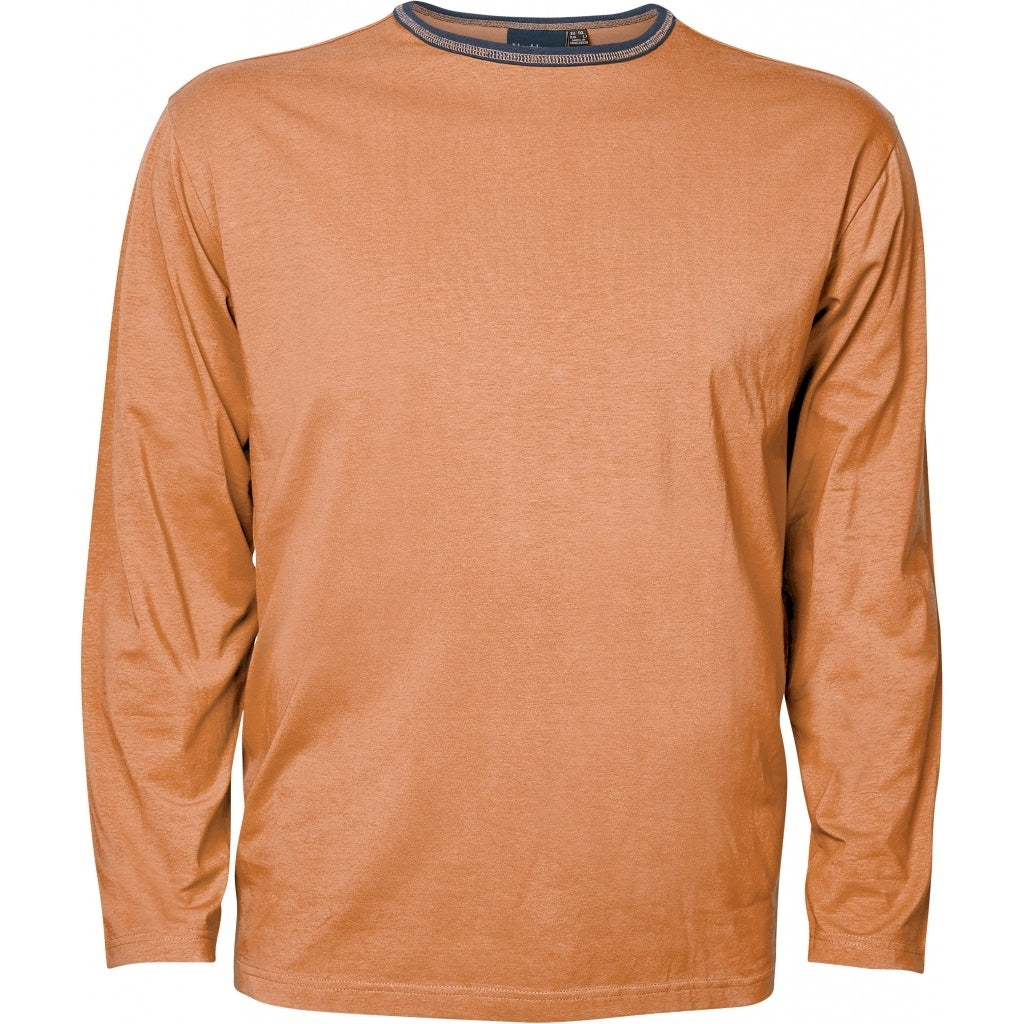 North 56°4 / Replika Jeans (Big & Tall) North 56°4 T-shirt w/contrast L/S T-shirt LS 0740 Cognac Brown