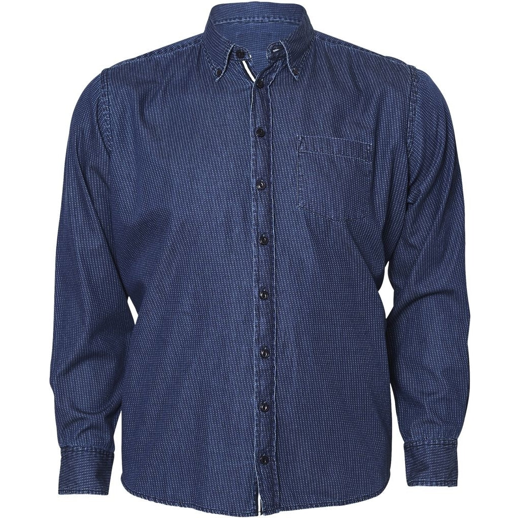 North 56°4 / Replika Jeans (Big & Tall) North 56°4 Printed denim shirt L/S S1 Shirt LS 0585 Indigo Blue