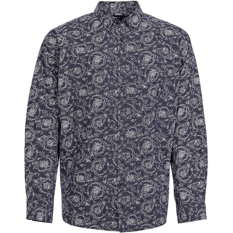 North 56°4 / Replika Jeans (Big & Tall) REPLIKA JEANS Allover printed shirt Shirt LS 0580 Navy Blue