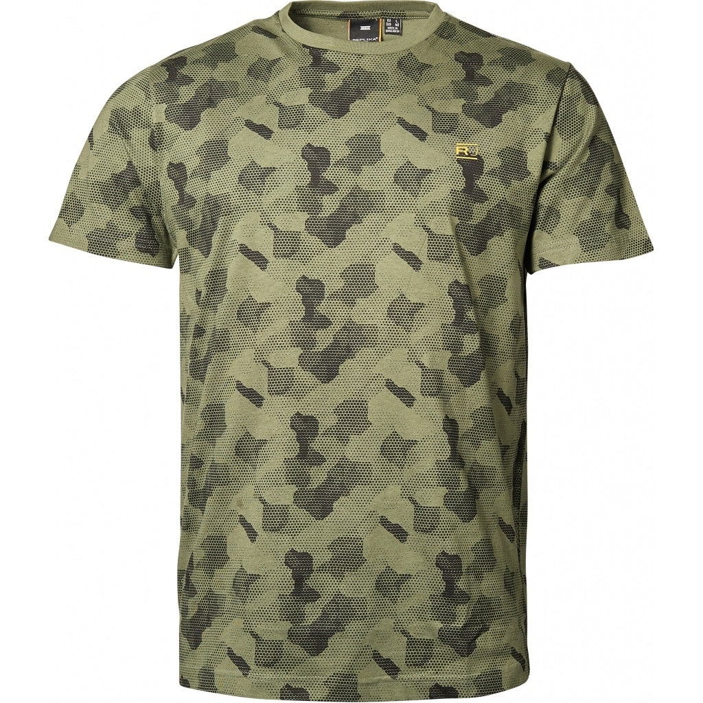 North 56°4 / Replika Jeans (Regular) REPLIKA JEANS Allover printed tee T-shirt 0661 Winter Olive