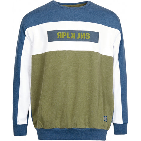 North 56°4 / Replika Jeans (Big & Tall) REPLIKA JEANS Block color sweat Sweatshirt 0910 Striped