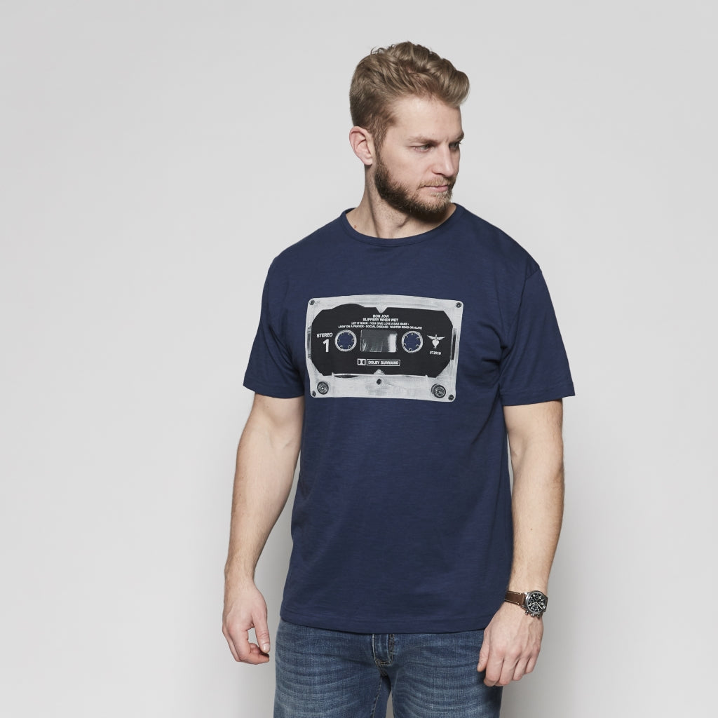North 56°4 / Replika Jeans (Big & Tall) REPLIKA JEANS Bon Jovi tee T-shirt 0580 Navy Blue