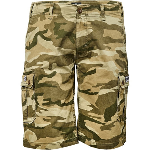 North 56°4 / Replika Jeans (Big & Tall) REPLIKA JEANS Camouflage cargo shorts Shorts 0660 Olive Green