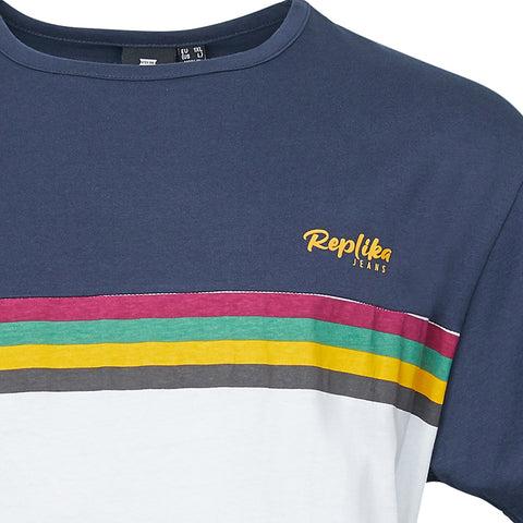 North 56°4 / Replika Jeans (Big & Tall) REPLIKA JEANS Chest striped tee T-shirt 0910 Striped