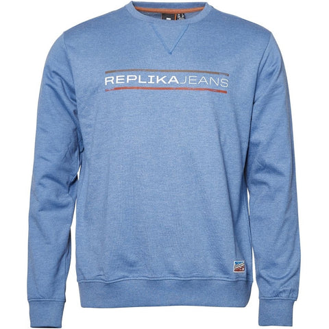 North 56°4 / Replika Jeans (Big & Tall) REPLIKA JEANS Crew-neck Sweat Sweatshirt 0555 Blue Melange