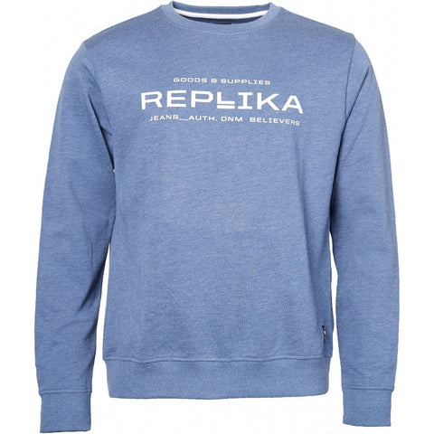 North 56°4 / Replika Jeans (Big & Tall) REPLIKA JEANS Crew neck sweatshirt Sweatshirt 0555 Blue Melange