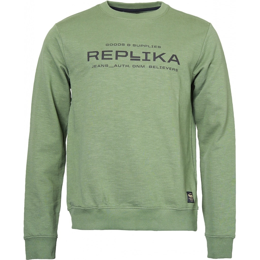 North 56°4 / Replika Jeans (Big & Tall) REPLIKA JEANS Crew neck sweatshirt Sweatshirt 0660 Olive Green