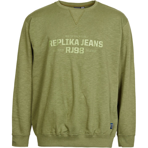 North 56°4 / Replika Jeans (Big & Tall) REPLIKA JEANS Logo slup yarn sweat Sweatshirt 0660 Olive Green