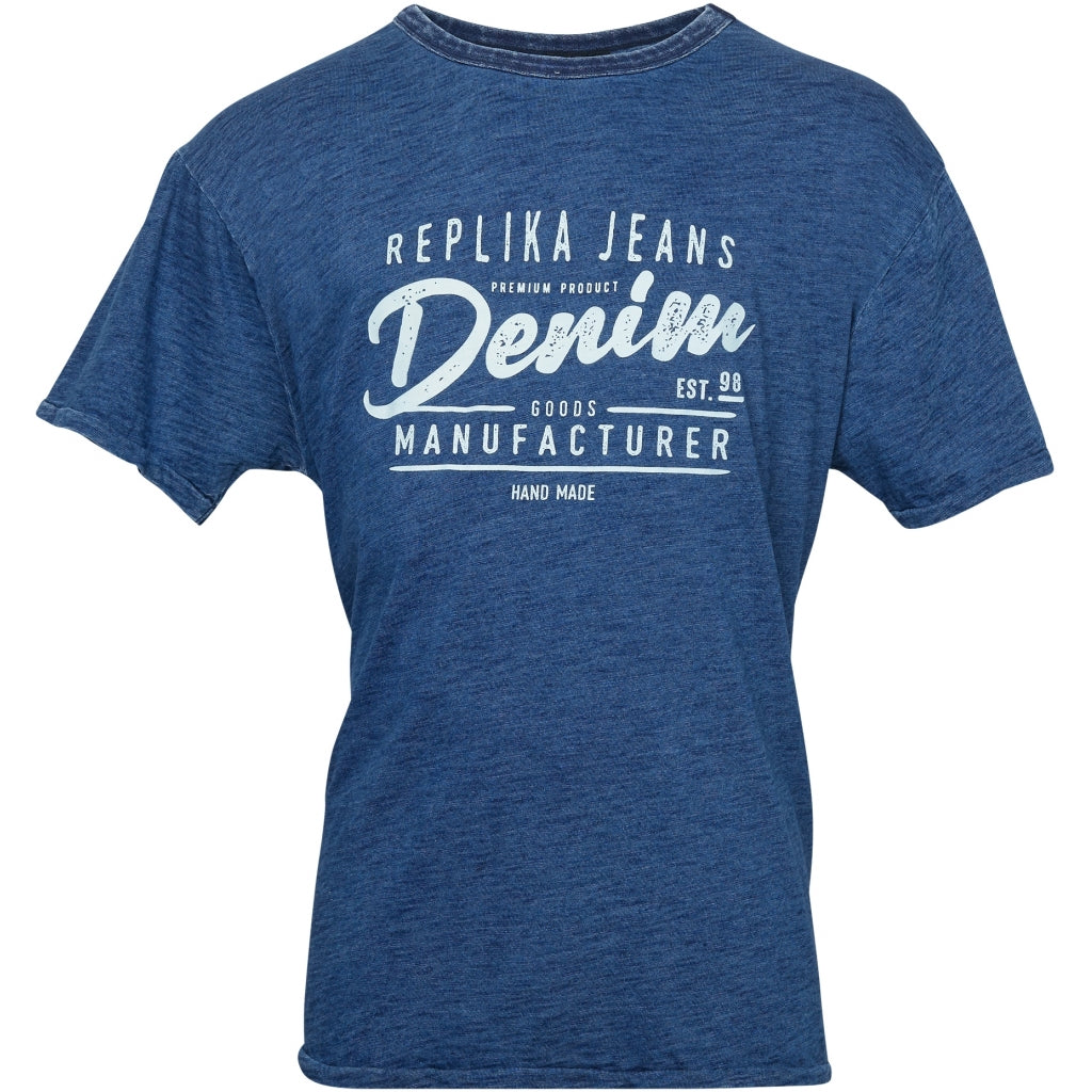 North 56°4 / Replika Jeans (Big & Tall) REPLIKA JEANS Printed indigo tee T-shirt 0585 Indigo Blue