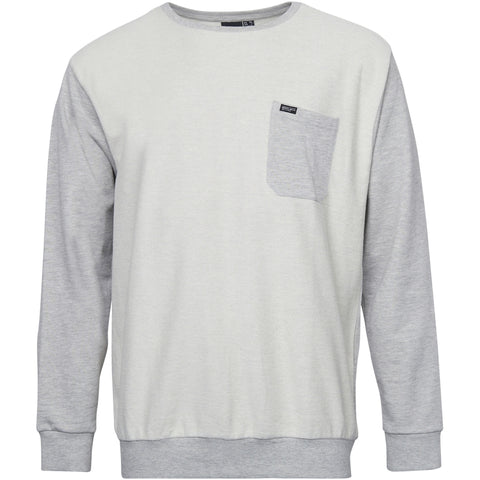 North 56°4 / Replika Jeans (Big & Tall) REPLIKA JEANS inside out crew neck sweat Sweatshirt 0045 Light Grey Melange