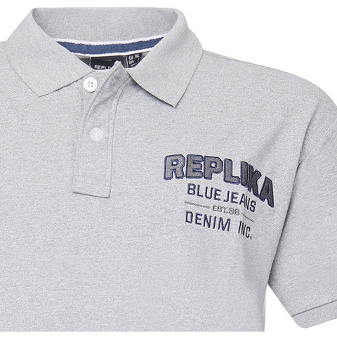 North 56°4 / Replika Jeans (Big & Tall) REPLIKA JEANS Polo w/chest application Polo SS 0045 Light Grey Melange