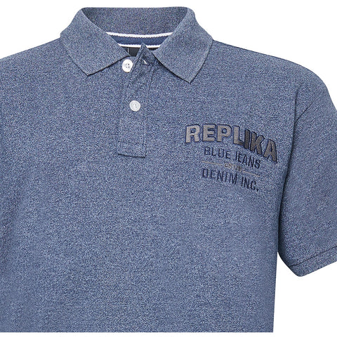 North 56°4 / Replika Jeans (Big & Tall) REPLIKA JEANS Polo w/chest application Polo SS 0580 Navy Blue