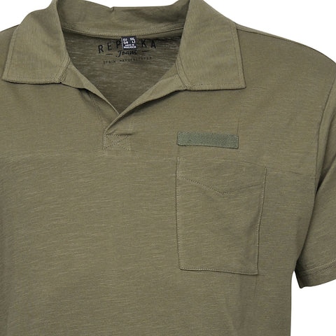 North 56°4 / Replika Jeans (Big & Tall) REPLIKA JEANS Polo w/v-neck Polo SS 0670 Army Green