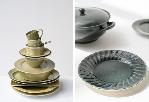 Green and blue recycled tableware