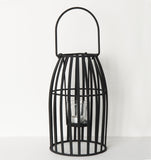 hurricane urban grain small iron candle holder black