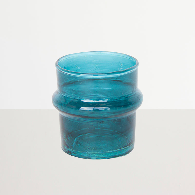 Recycled Handmade Glass Tea Light Holder - Teal - Urban Nature Culture