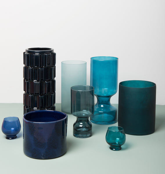 Vase glass boogie nights - Colonial blue