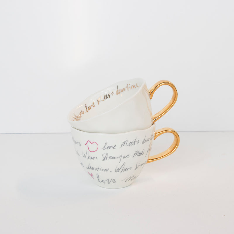 Good morning cup white with gold text inside - Urban Nature Culture