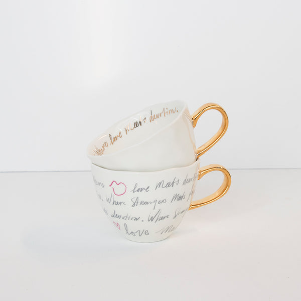Good Morning Cup White With Gold Text Inside - UNC
