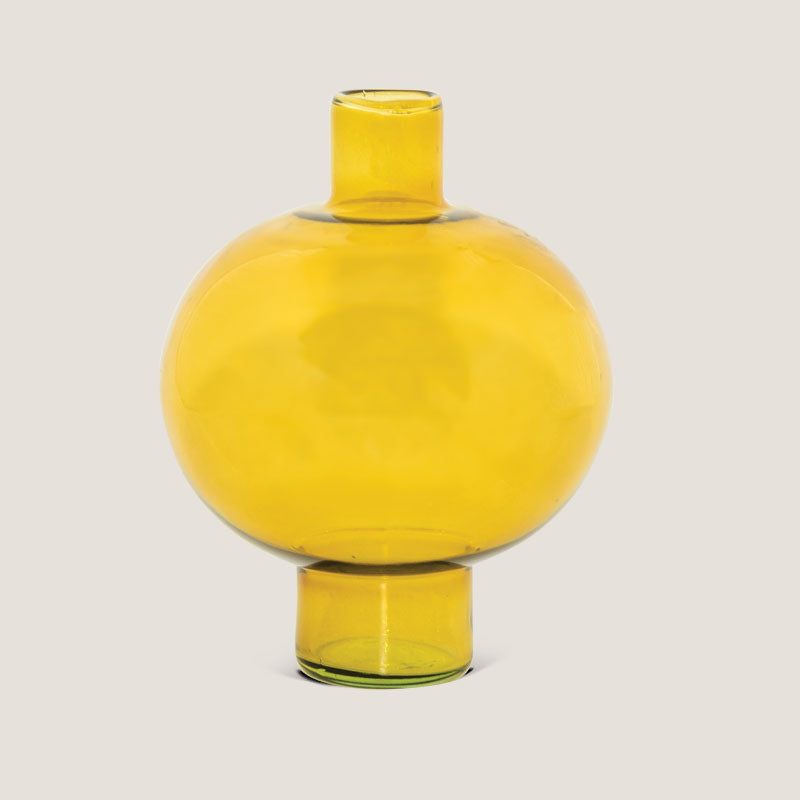 Vase recycled glass round Amber green - Urban Nature Culture