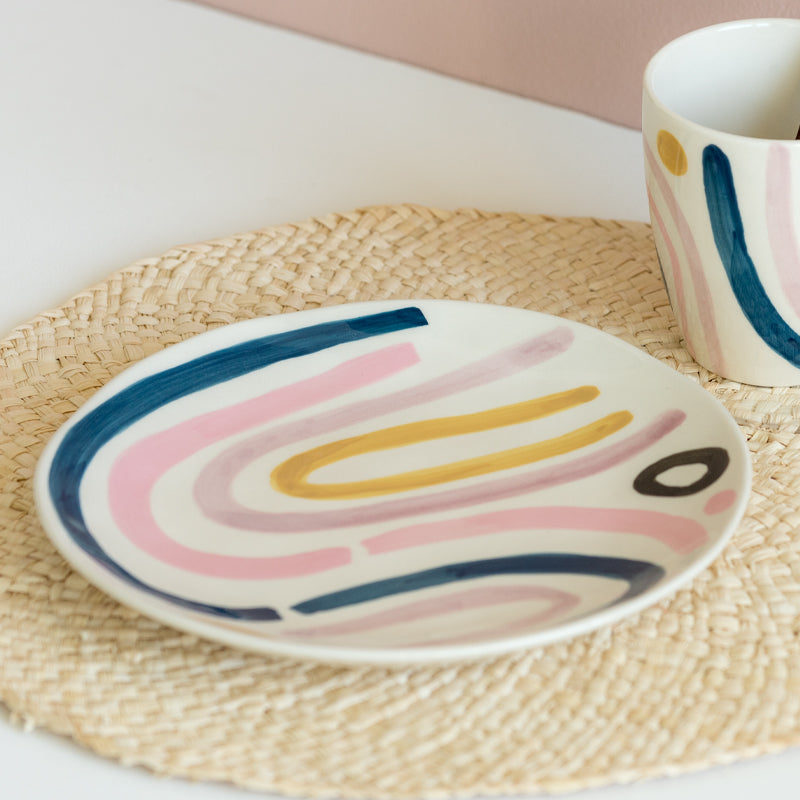 Plate s/2 Linha abstrata pink - Urban Nature Culture