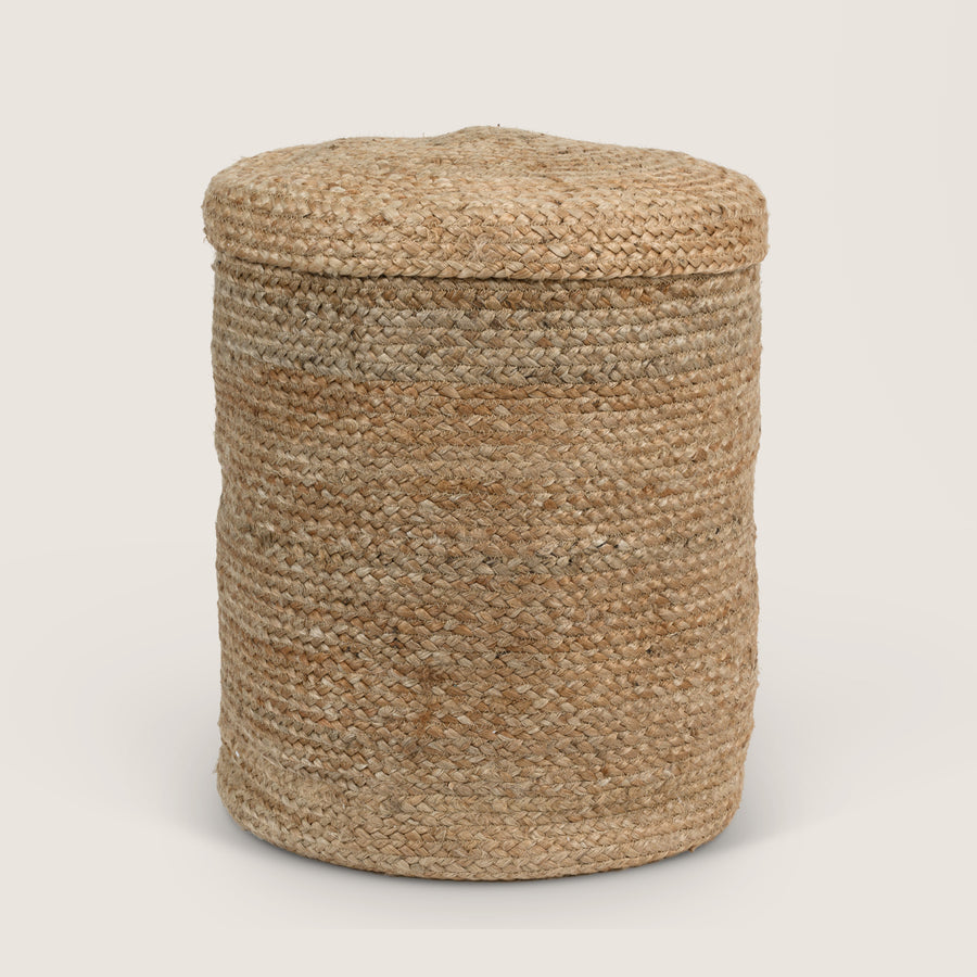 Storage basket with lid, natural - Urban Nature Culture
