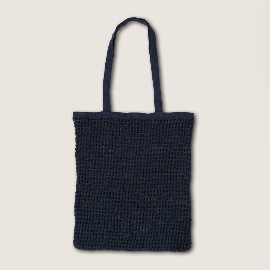 Dark blue shopping bag made of cotton