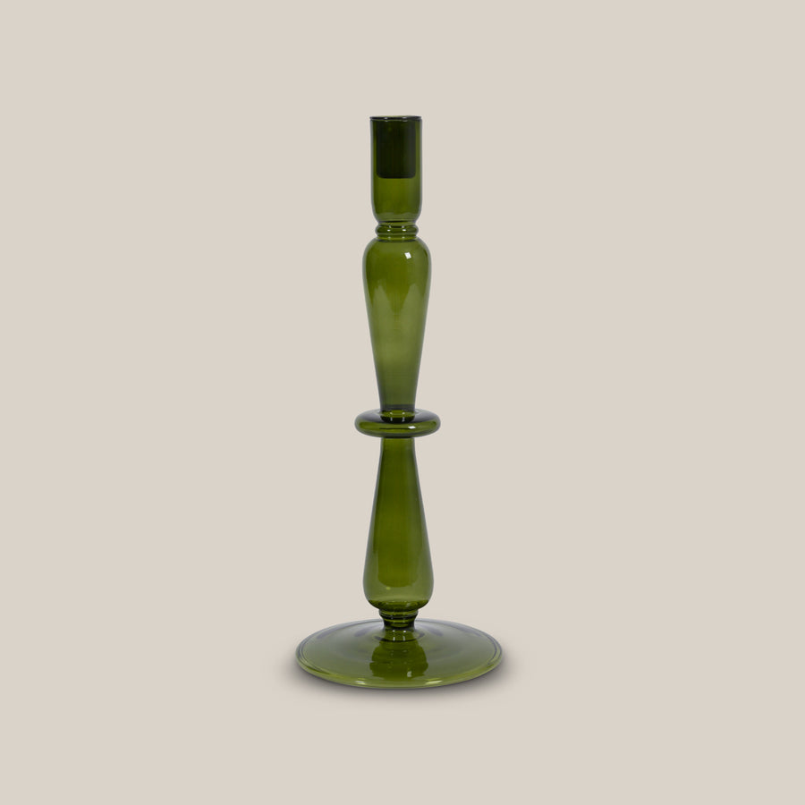 Candle holder recycled glass Refined M, fir green - Urban Nature Culture