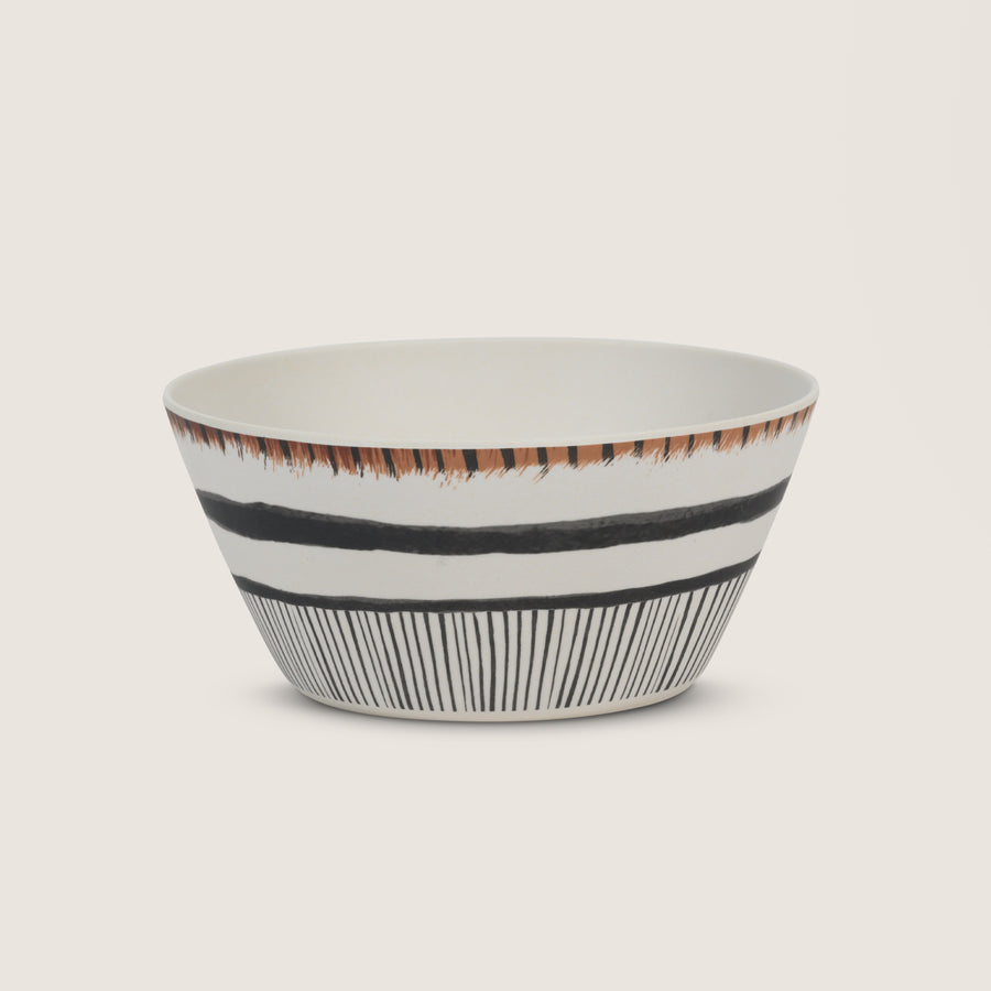 Bamboo bowl with a brown rim and black vertical stripes