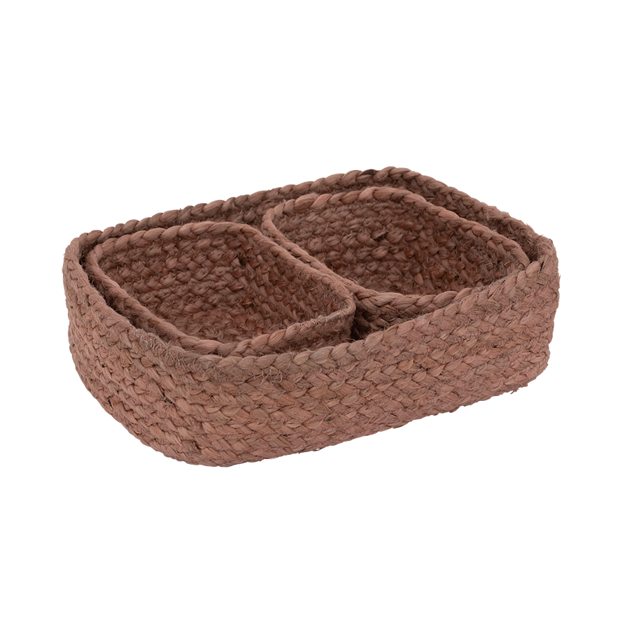 Storage basket 3-in-1 jute, dusty pink