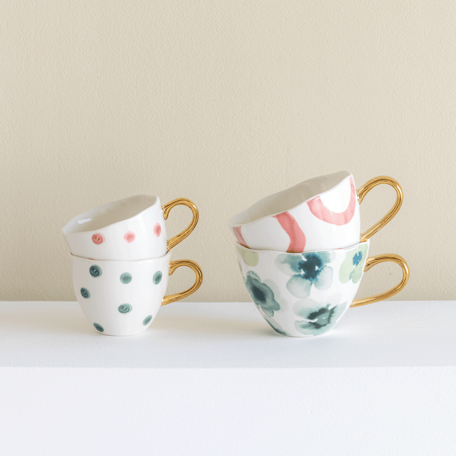 Good Morning Cup Mini Small Dots, blue green