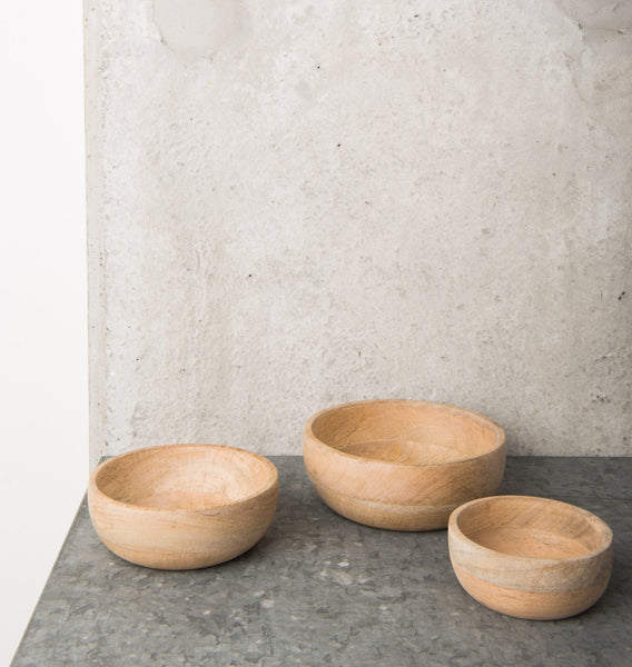 Bowls Natural Mango Wood - Set of 3