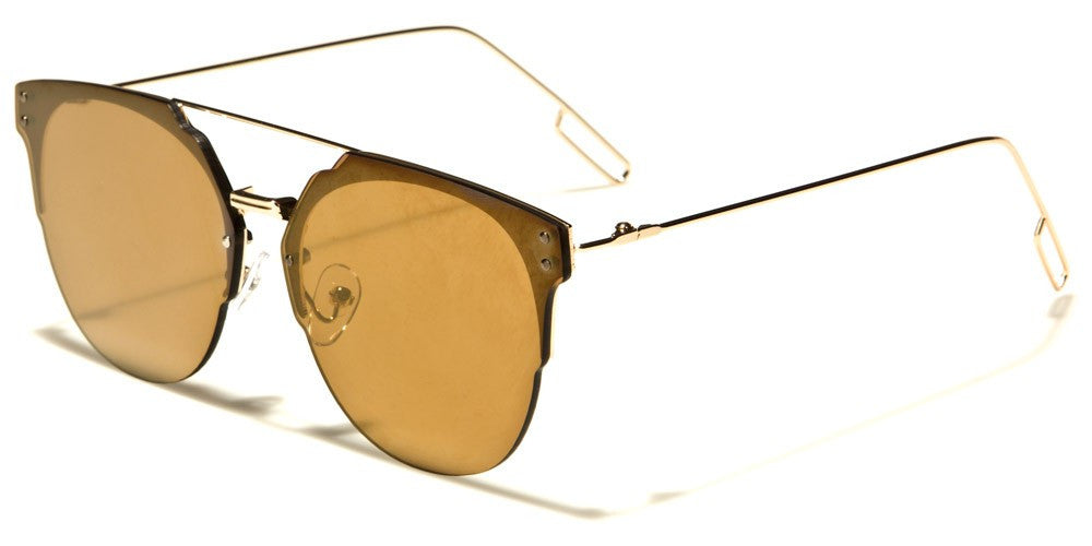gold mirrored trendy oversized glasses