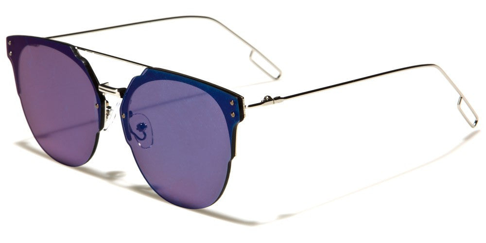 blue mirrored trendy oversized glasses