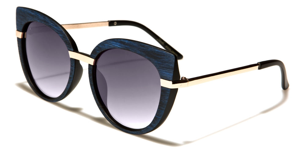 blue women's cat eye oversized sunglasses