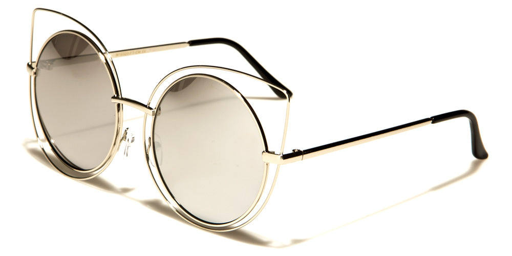 silver mirrored trendy oversized glasses