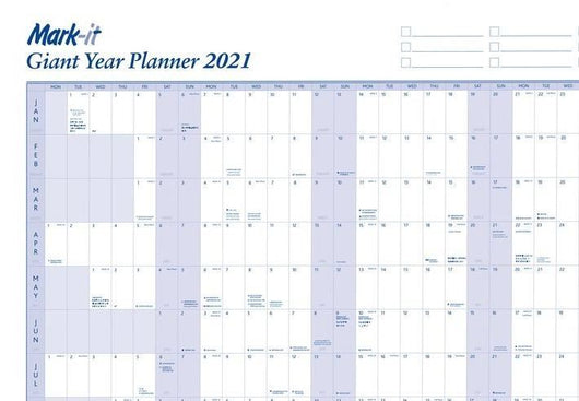 Giant 2021 Yearly Wall Planner Laminated