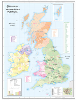 British Isles Wall Map for Schools - Reversible Political