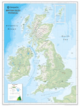 British Isles Wall Map for Schools - Reversible Physical