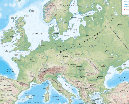 European Wall Map for Schools - Reversible