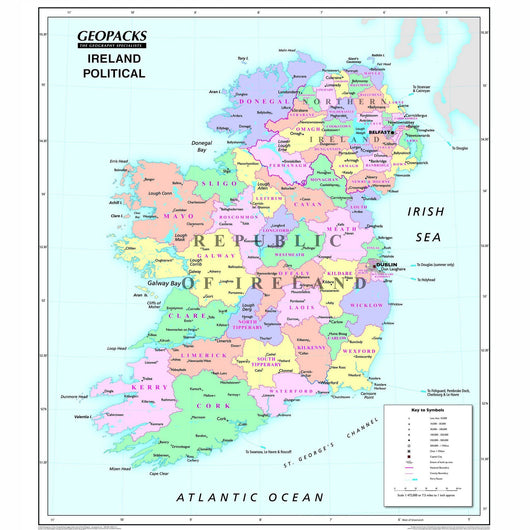 Physical Map Of Ireland.Irish Wall Map For Schools Reversible