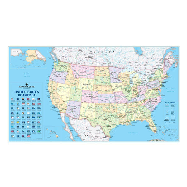 USA laminated Political Wall Map on usa elevation map, usa diplomatic map, usa climate map, usa road map, usa education map, missouri bellwether, usa historic map, usa map labeled, swing state, usa map projection, usa city map, solid south, usa weather map, usa outline map, purple america, jesusland map, usa map with states, libertarian party, usa map with cities and towns, usa geological map, usa thematic map, republican and democratic states 2012 map, usa population density map, usa trade map, usa history map, usa topographical map,