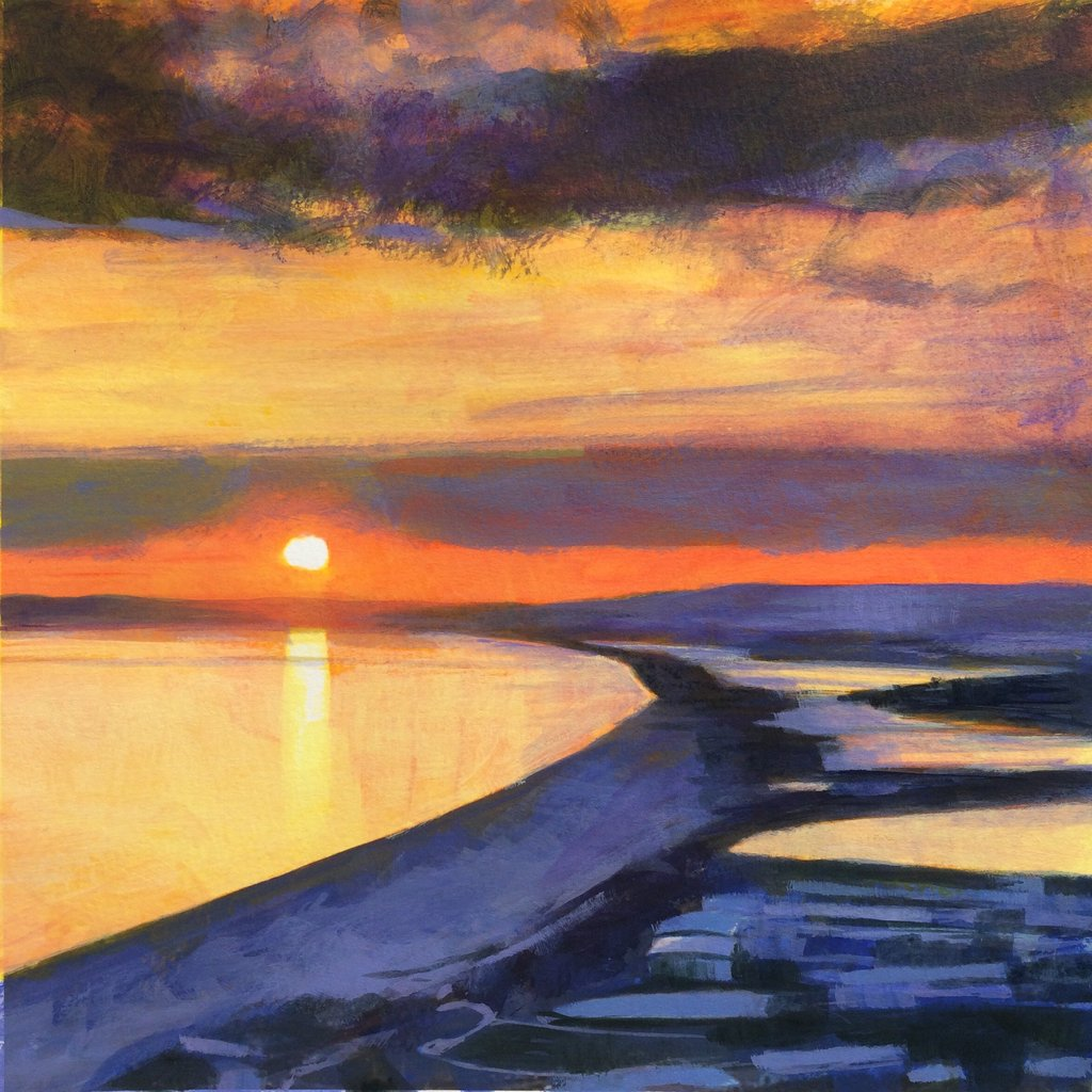 Sunset over Chesil