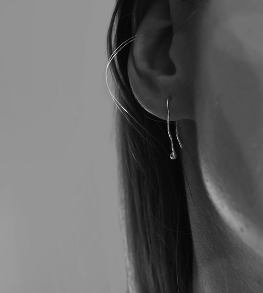 Silver droplet hook earrings - EMBR jewellery