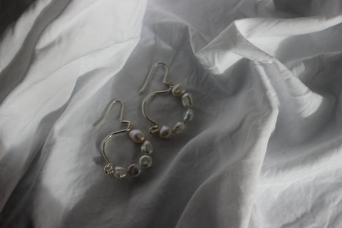 PRE ORDER  -  Silver hypatia pearl earrings - EMBR jewellery