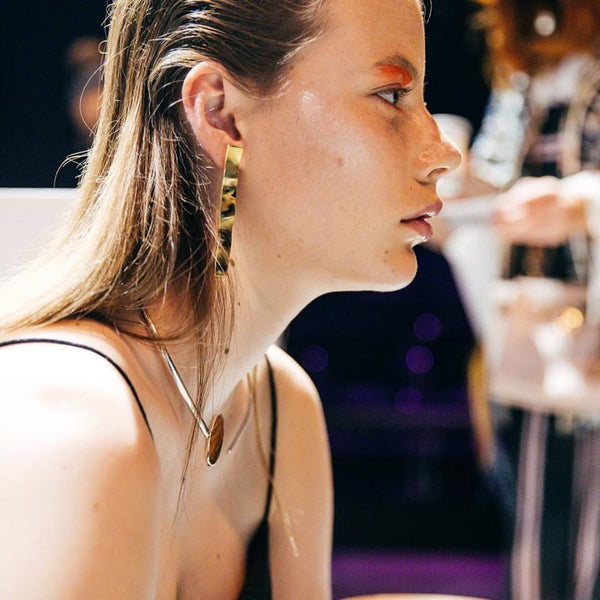 Gold surface earrings - EMBR jewellery